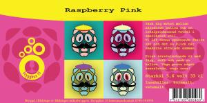 Etiketten till Raspberry Pink hallonveteöl